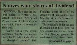 """Natives want shares of dividend"""