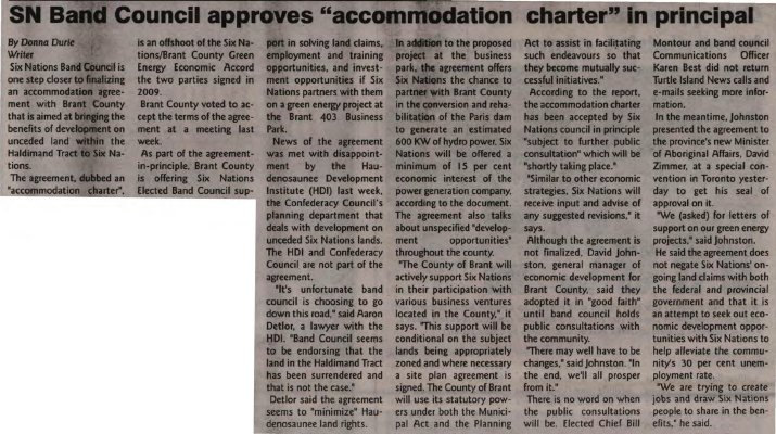 """""""SN Band Council approves 'accommodation charter' in principal"""""""