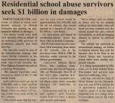 """Residential school abuse survivors seek $1 billion in damages"""