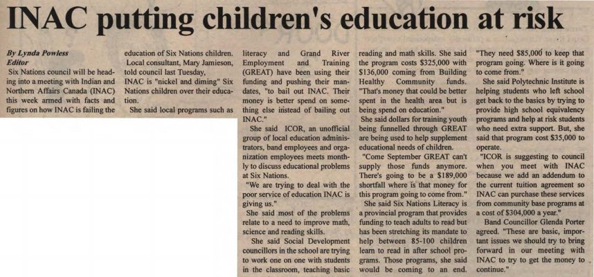 """""""INAC putting children's education at risk"""""""