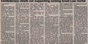 """""""Confederacy chiefs not supporting coming Great Law recital"""""""