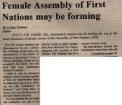 """""""Female Assembly Of First Nations may be forming"""""""