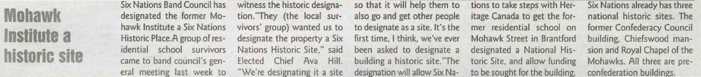 """Mohawk Institute a Historic Site"""