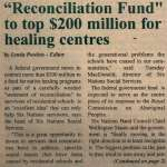 """""""'Reconciliation Fund' to top $200 million for healing centres"""""""