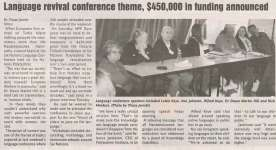"""""""Language Revival Conference Theme, $450,000 in Funding Announced"""""""