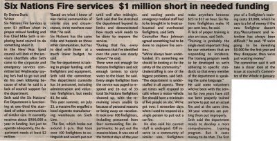 """Six Nations Fire services $1 Million short in needed funding"""
