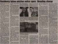 """""""Residency bylaw eviction notice spurs threating charge"""""""