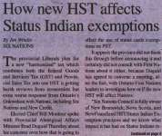 """""""How new HST affects Status Indian exemptions"""""""