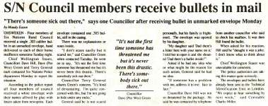 """""""S/N Council members receive bullets in mail"""""""