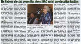 """""""Six Nations elected councillor gives INAC earful on education funding"""""""