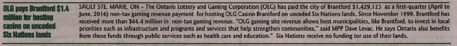 """OLG pays Brantford $1.4 million for hosting casino on unceded Six Nations lands"""