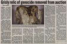 """""""Grisly relic of genocide removed from auction"""""""