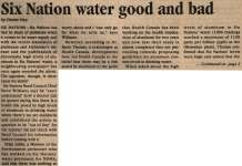 """""""Six Nation water good and bad"""""""
