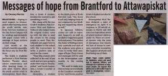"""""""Messages of hope from Brantford to Attawapiskat"""""""
