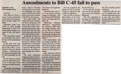 """Amendments to Bill C-45 fail to pass"""