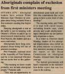 """""""Aboriginals complain of exclusion from first ministers meeting"""""""