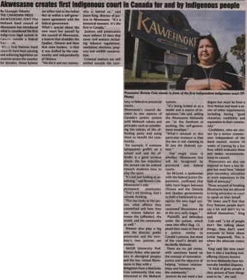 """""""Akwesasne creates first indigenous court in Canada for and by indigenous people"""""""
