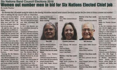 """""""Women out number men in bid for Six Nations Elected Chief job"""""""