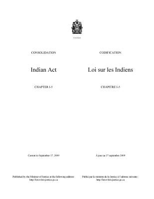 Indian Act: Chapter 1-5