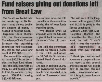 """""""Fundraisers giving out donations left from Great Law"""""""
