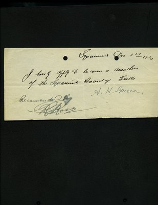 Letter of application to Squamish Board of Trade by A.K. Green