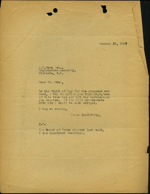 Letter to A.E. Munn, Legislative assembly RE: New Road