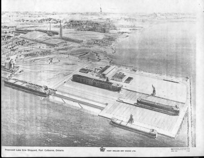 Drawing of Proposed Lake Erie Shipyard, Port Colborne, Ontario