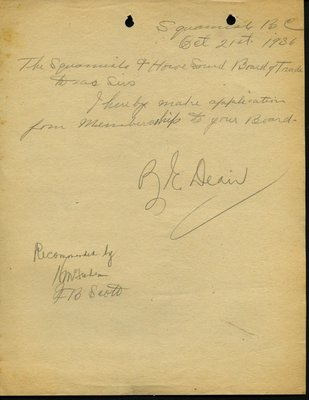 Letter of application to the Squamish & Howe Sound Board of Trade by B.E. Deair