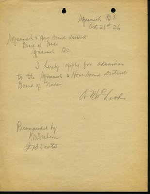 Letter of application to Squamish & Howe Sound Board of Trade by A. McLeod