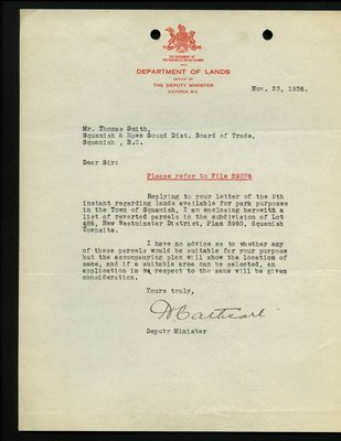 Letter to T. Smith, Squamish & Howe Sound District Board of Trade from Deputy Minster, Department of Lands. RE: Land for park