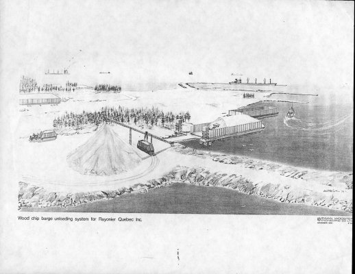 Sketch of Woodchip Barge Unloading system