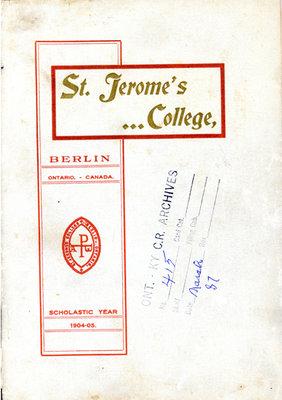 St. Jerome's College Calendar 1904-1905