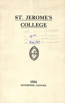 St. Jerome's College Calendar 1924