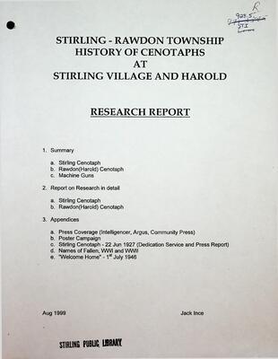 Stirling-Rawdon History of Cenotaphs at Stirling Village and Harold