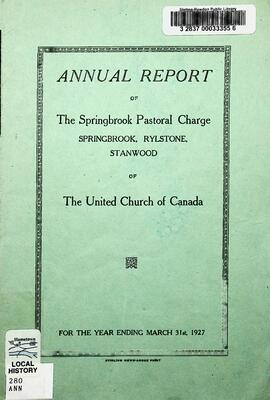 Annual Report of the Springbrook Pastoral Charge, 1927