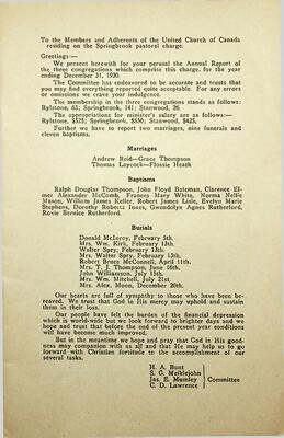 Annual Report Springbrook Pastoral Charge, 1930