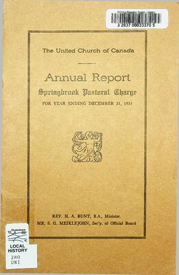 The United Church of Canada Annual Report Springbrook Pastoral Charge, 1931