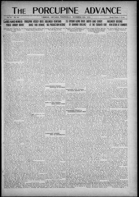 Porcupine Advance, 16 Nov 1921