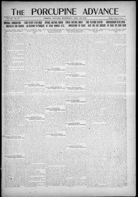 Porcupine Advance, 12 Apr 1922