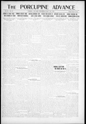 Porcupine Advance, 10 May 1922