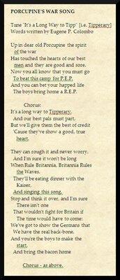PORCUPINE'S WAR SONG