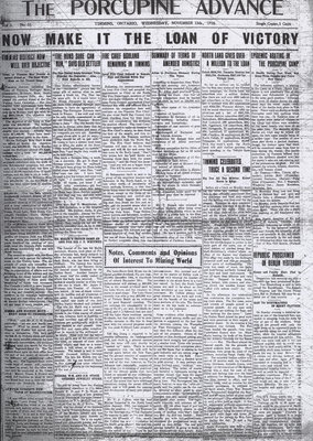 Now Make it the Loan of Victory [front page of Porcupine Advance from November 13, 1918]