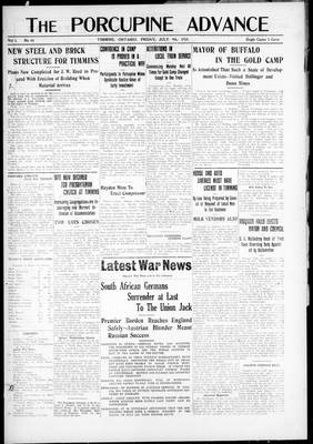 Porcupine Advance, 9 Jul 1915