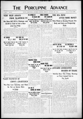 Porcupine Advance, 16 Aug 1912
