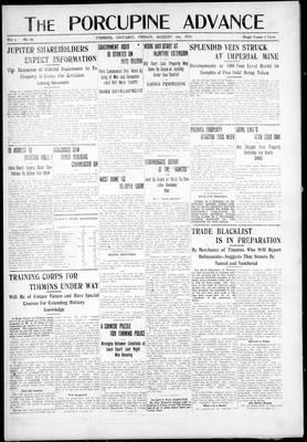 Porcupine Advance, 6 Aug 1915