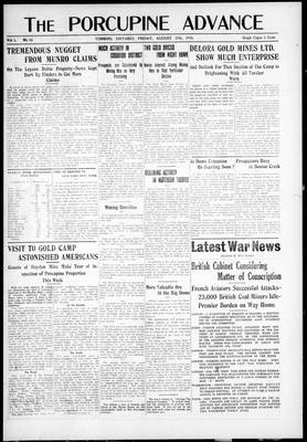 Porcupine Advance, 27 Aug 1915