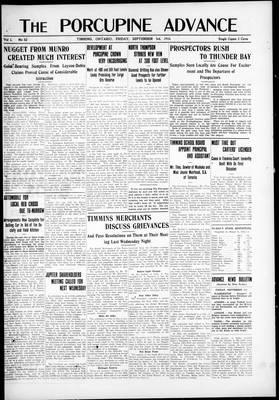 Porcupine Advance, 3 Sep 1915