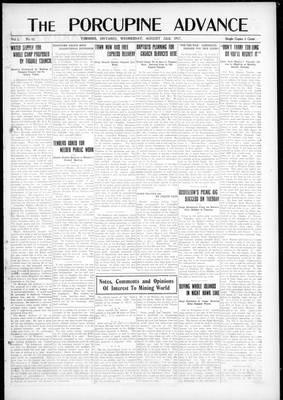 Porcupine Advance, 22 Aug 1917