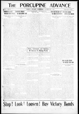 Porcupine Advance, 30 Oct 1918