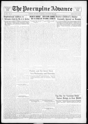 Porcupine Advance, 3 Nov 1927